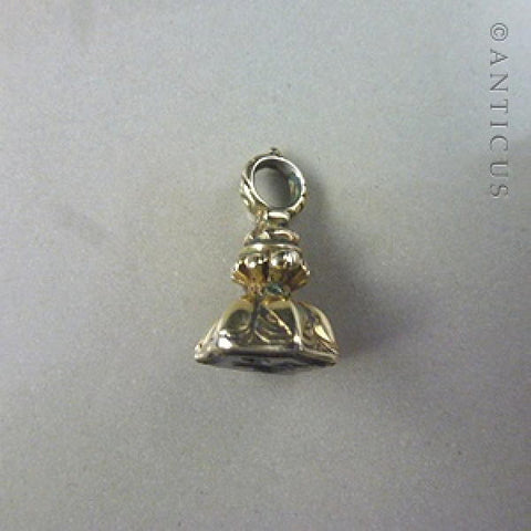 Tiny Victorian Fob Seal, Heavy Gold Plate.