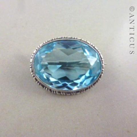 Vintage Brooch or Pin, Silver and Clear Blue Quartz.