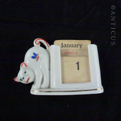 Art Deco Porcelain Perpetual Calendar, Cat Decoration.