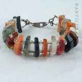 Unusual Scottish Silver and Agate Panels Bracelet.