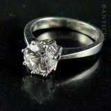 14ct White Gold and Large Zirconia Solitaire Ring.