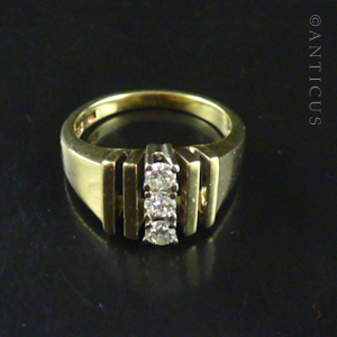 14k Gold and Three Diamonds Ring.