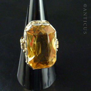 18ct Gold Ring with Large Yellow Topaz.