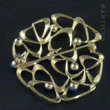 14ct Gold and Lapis Vintage Brooch.
