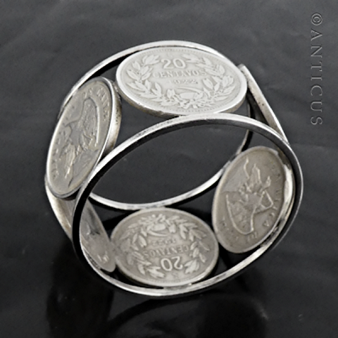 Old Chilean Silver Coin Napkin Ring.