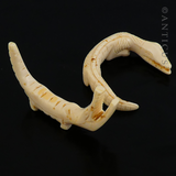 Pair of Carved Ivory African Crocodiles.