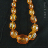 Long Strand of Faceted Baltic Amber Beads.