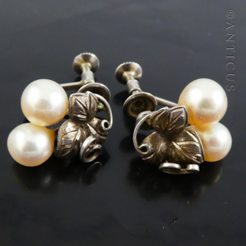 Pair Cultured Pearls and Silver Grape Leaves Earrings.