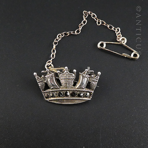 Naval Crown Brooch, Silver & Marcasite.