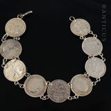 Coin Bracelet, English Threepence Coins.