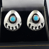 Pair of Vintage Silver and Turquoise Earrings.
