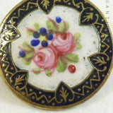 Small Vintage Enamel Brooch with Roses.