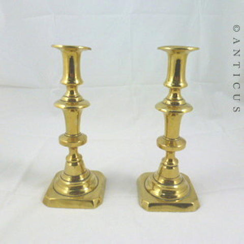 Pair of Victorian Brass Candlesticks.