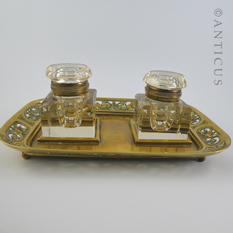 Antique Brass Ink Stand, with Twin Ink Bottles.