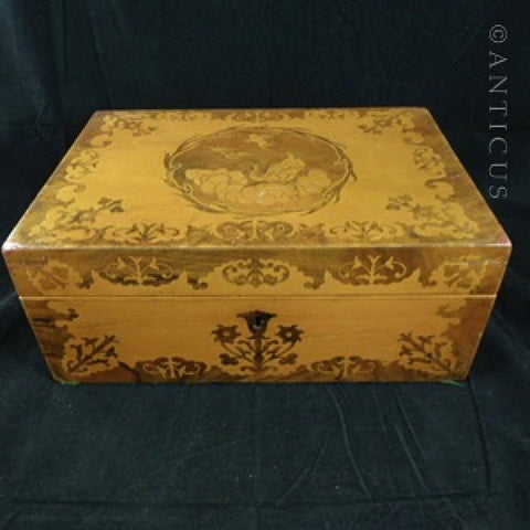 Marquetry Box, 19th Century, Sycamore Wood.
