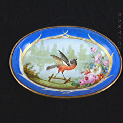Victorian Hand Painted Dish with Robin and Lake.
