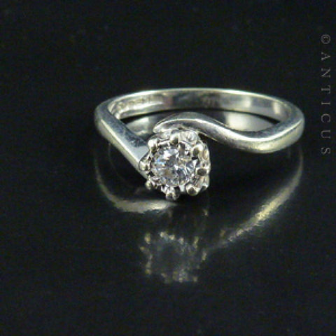White Gold Solitaire Diamond Ring, Cross-Over Setting