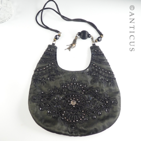 Black Beaded Evening Purse, Shoulder Strap.