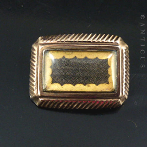 Antique Small Hair Panel Mourning Brooch.