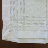 Edwardian White Pillow Slip, Drawn Thread Work.