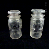 Pair of Cut Glass Pickle Jars, Edwardian.