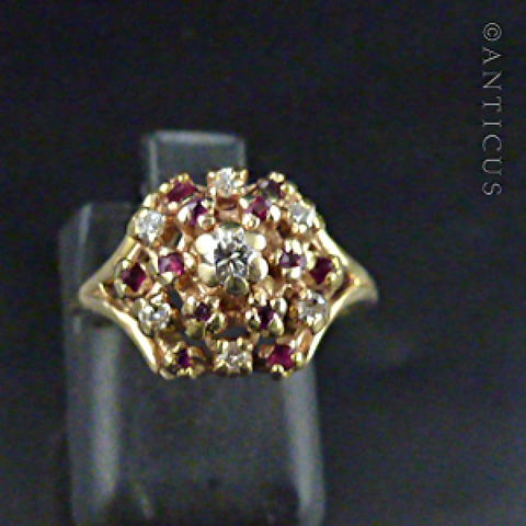 14K Ruby and Diamond Bombe Ring, Vintage.