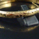Gold Slim Snap Bangle, Engraved Decoration.