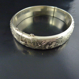 Silver Snap Bangle with Engraved Design, 1972.