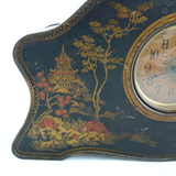 Vintage Biscuit Tin Clock, Chinoiserie Decoration.