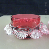 Pair of Cranberry Glass Open Salts.