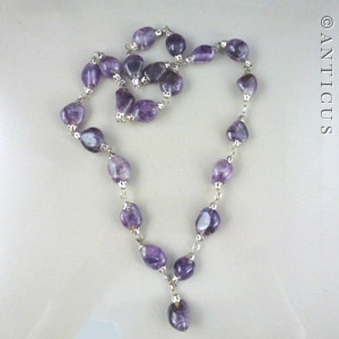 Long Natural Amethyst Necklace, Linked Mounts.