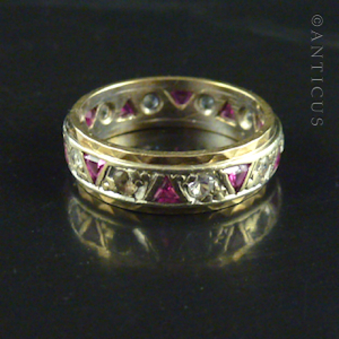 Gold Eternity Ring, Ruby and Clear Stones.