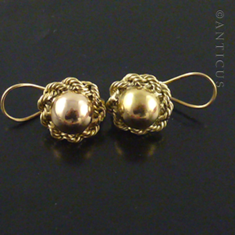Pair of 14k Gold Round Dome Earrings.