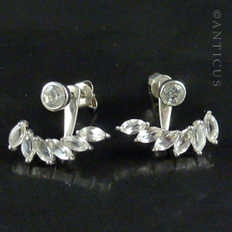 Pair of Two-Part Earrings, Silver and Clear Stones.