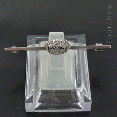 Naval Crown Silver and Crystal Bar Brooch, Vintage.