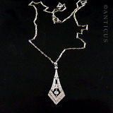 Art Deco Design Diamond and White Gold Pendant.