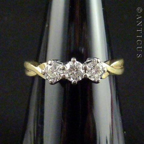 18ct Gold and Three Stone Diamond Ring.