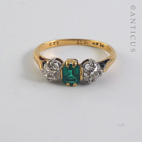 Estate Emerald and Diamond Three Stone Ring.
