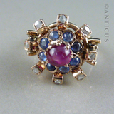 Gold and Multi-Gem Dress Ring, Star Ruby.