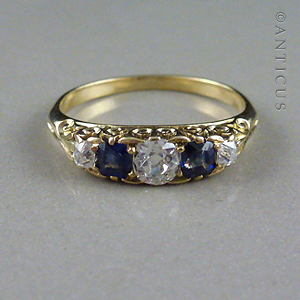 Estate Sapphire and Diamond Ring.