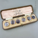 Set of 6 Boxed Buttons, Edwardian Period.