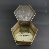Octagonal Vintage Biscuit Tin with Hinged Lid.