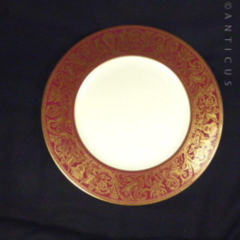 Large Wedgwood Vintage Bone China Plate, Burgundy and Gold.