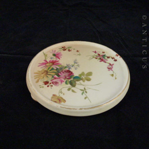 Royal Worcester Handpainted Teapot Stand, 1902.