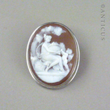 Cameo Brooch, Silver Mount, Cherub and Nymph.