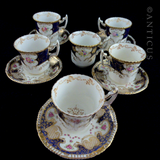 Antique Set Demi Tasse Coffee Cups and Saucers.
