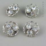 Set of Four Vintage Diamanté Buttons.