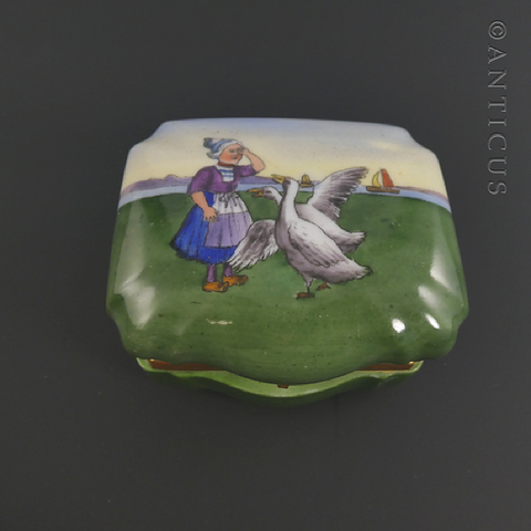 Dutch Goose Girl Pill or Trinket Box.
