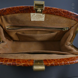 Vintage Crocodile Handbag, Brown, Faulted.