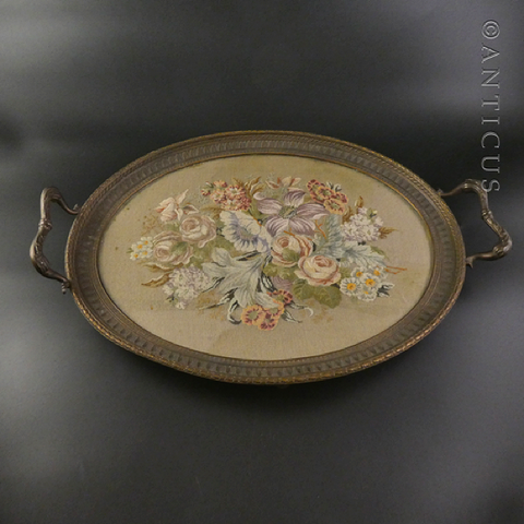 Vintage Ornate Metal Framed Tapestry Tray.
